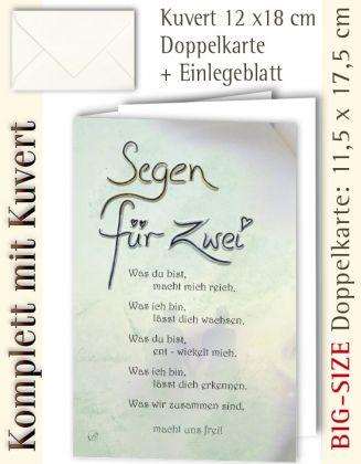 B.S.-Karte + Kuvert, Segen für Zwei ...? - individualisierbar
