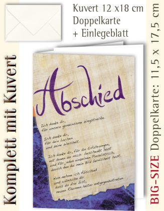 B.S.-Karte + Kuvert, Abschied ...? - individualisierbar