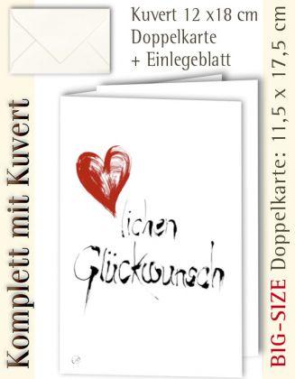B.S.-Karte + Kuvert, Glückwunsch - mit Herz ...? - individualisierbar