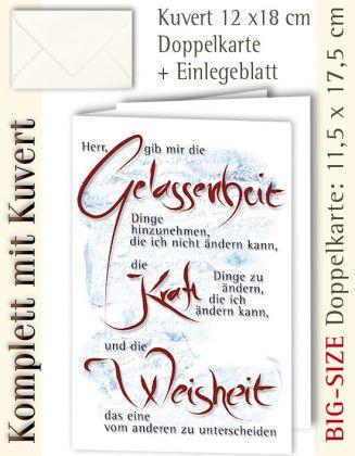 BIG-SIZE-Karte + Kuvert, Kalligraphie Gelassenheit - individualisierbar