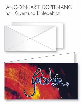 Gutschein-Karte Doppel-Lang-DIN - Rot-schwarzer Hintergrund