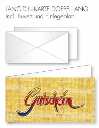 Gutschein-Karte Doppel-Lang-DIN - Gutschein+Papyrushintergrund