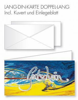 Gutschein-Karte Doppel-Lang-DIN - wilder gelb-blauer Hintergrund