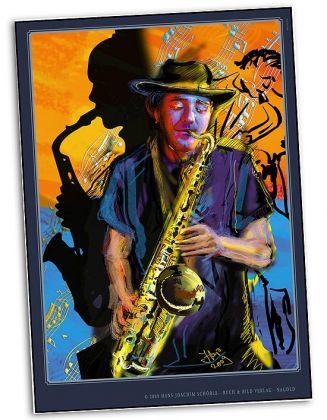 Poster DINA 1 Saxophon-Spieler