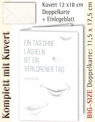 BIG-SIZE-Karte + Kuvert, Lächeln s/w dezent - individualisierbar
