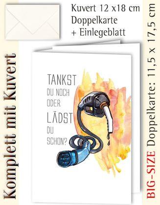 B.S.-Karte + Kuvert, E-Mobil-Motiv Laden, individualisierbar