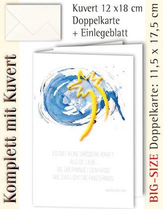 B.S.-Karte + Kuvert, Weihnachtsstern + Text von M. L. King - individualisierbar