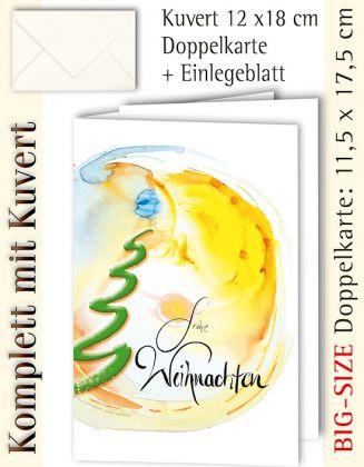 B.S.-Karte + Kuvert, Frohe Weihnachten leuchtend - individualisierbar