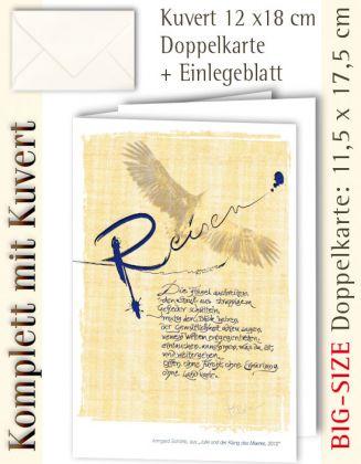 BIG-SIZE-Karte + Kuvert, Kalligraphie Reisen - individualisierbar