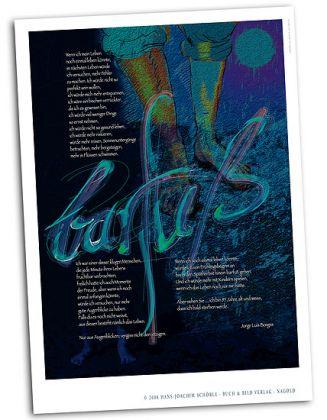 Kalligraphie-Poster zum Thema Barfuß und Lebensphilosophie DINA1